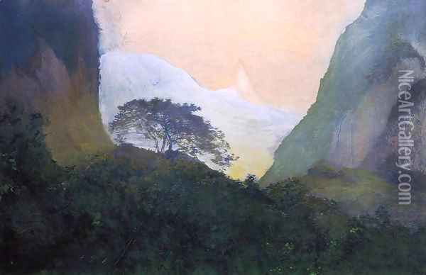 Landscape Evening Tahiti Pass And Peak Of Vaiaroa Taiarapu Oil Painting - John La Farge