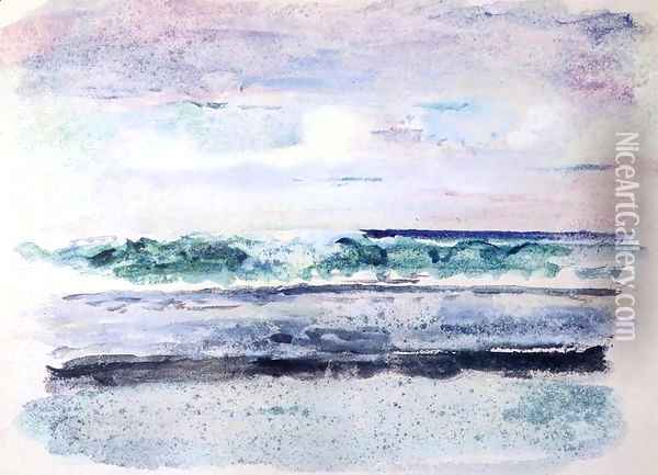 Study Of Surf Breaking On Outsiide Reef Tautira Taiarapu Tahiti March 1891 Oil Painting - John La Farge