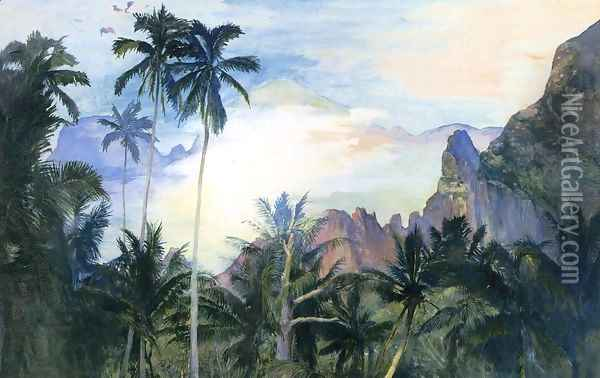 The End Of Cooks Bay Island Of Moorea Society Islands 1891 Dawn Oil Painting - John La Farge