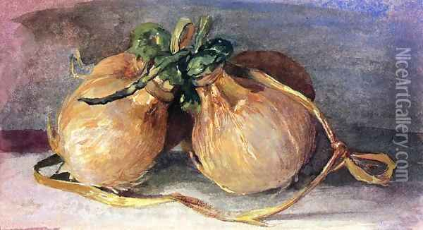 Hari Bundle Of Cocoanuts Showing Tahitian Manner Of Preparing And Tying Them Oil Painting - John La Farge