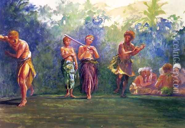 Standing Dance Standing Figures Aka Standing Dance Representing A Game Of Ball Oil Painting - John La Farge