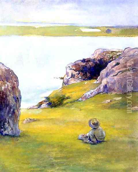 Study At Brentons Cove Newport Looking Towards Fort Adams Oil Painting - John La Farge