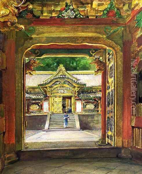 In the Third Gate, Looking Toward the Fourth of the Temple, Iyemitsu, Nikko, Aug., 1886 Oil Painting - John La Farge