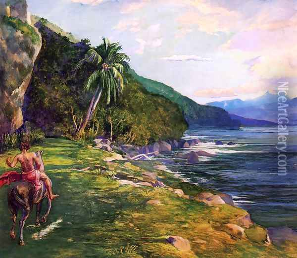 A Bridle Path in Tahiti (aka Bridle Path, Tahiti) Oil Painting - John La Farge