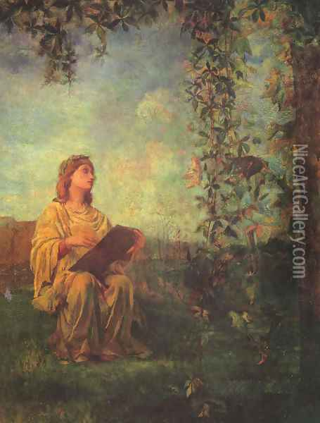 Decorative Panel, Seated Figure in Yellow Oil Painting - John La Farge