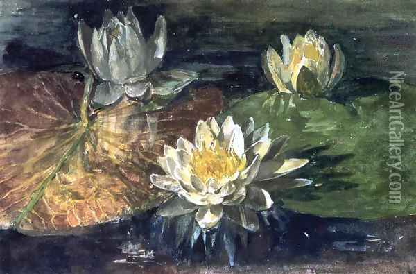Water-Lilies, Red and Green Pads Oil Painting - John La Farge