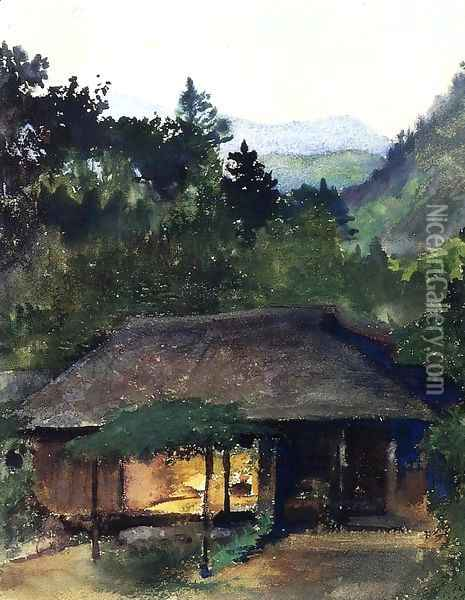 Evening Study (aka Priest's House, Nikko, Japan) Oil Painting - John La Farge