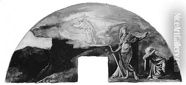 The Moral and Divine Law: Moses Receives the Law on Mount Sinai; Color Study for Mural, Supreme Court Room, Minnesota State Capitol, Saint Paul Oil Painting - John La Farge