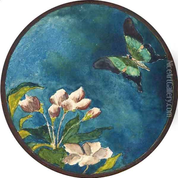 Apple Blossoms and Butterfly Oil Painting - John La Farge