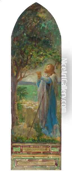 The Shepherd and His Flock Oil Painting - John La Farge