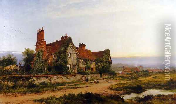 An Old Surrey Home Oil Painting - Benjamin Williams Leader