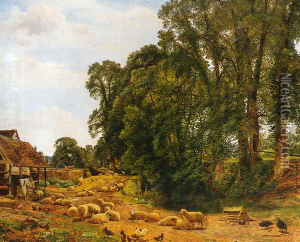 Outskirts of a Farm Oil Painting - Benjamin Williams Leader