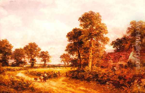 The Lane at Whittington, Worcestershire Oil Painting - Benjamin Williams Leader