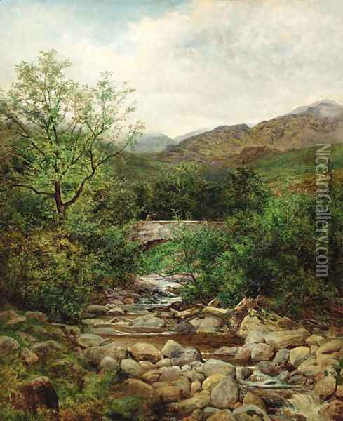 A bridge over a mountain stream, North Wales Oil Painting - Benjamin Williams Leader