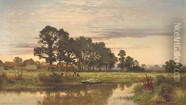 A Worcestershire Farm Oil Painting - Benjamin Williams Leader