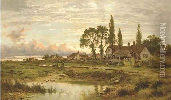 The Outskirts of a Worcestershire Common, clearing up after rain, Evening Oil Painting - Benjamin Williams Leader