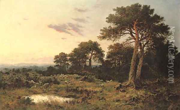 Evening on the Surrey Wolds Oil Painting - Benjamin Williams Leader