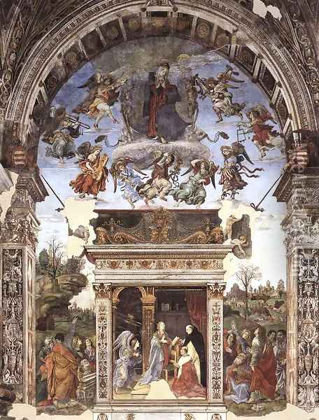 Assumption and Annunciation 1489-91 Oil Painting - Filippino Lippi