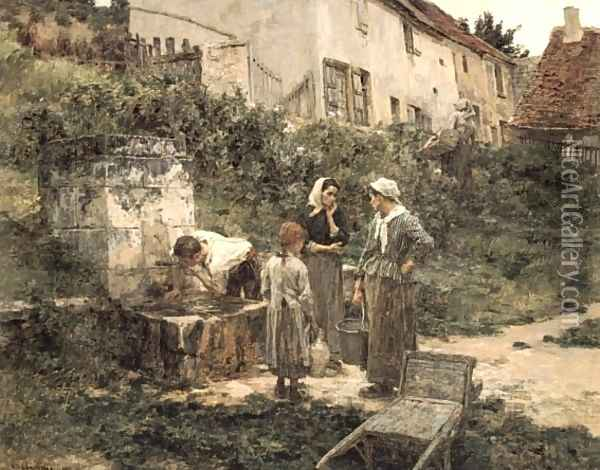 A la Fontaine (At the Fountain) Oil Painting - Leon Augustin Lhermitte