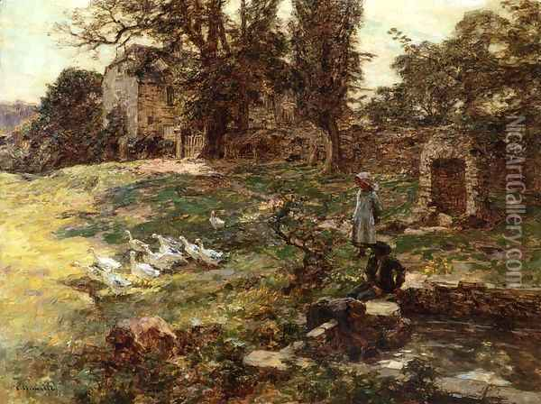 Field with Geese Oil Painting - Leon Augustin Lhermitte