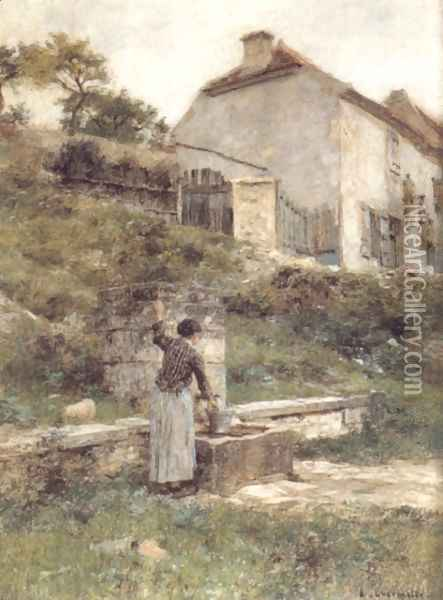 A Woman filling her bucket at a Well Oil Painting - Leon Augustin Lhermitte