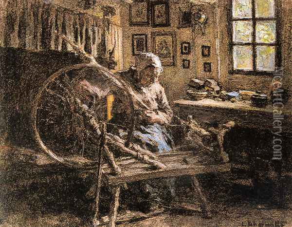 The Spinning Wheel Oil Painting - Leon Augustin Lhermitte