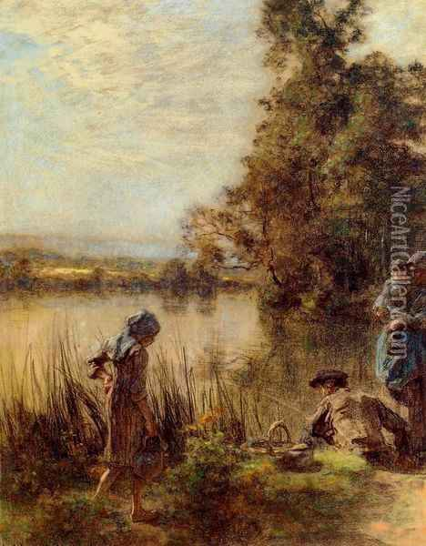 Fisherman and His Family Oil Painting - Leon Augustin Lhermitte