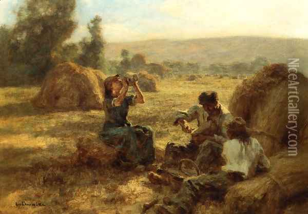 The Snack Oil Painting - Leon Augustin Lhermitte