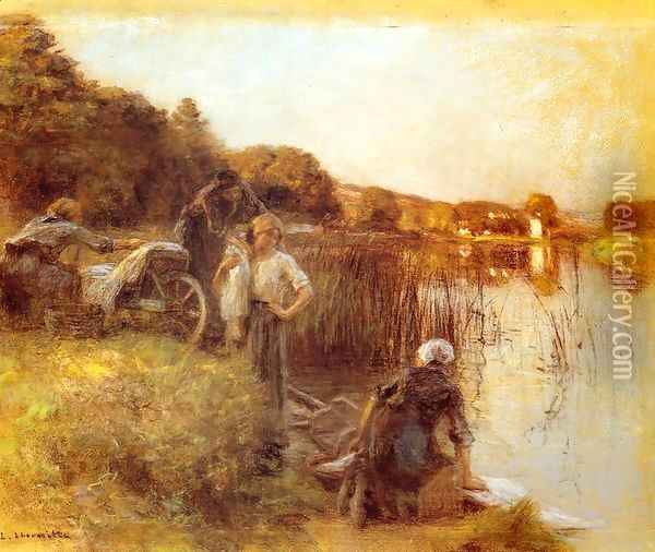 Washerwomen on the Banks of the Marne I Oil Painting - Leon Augustin Lhermitte