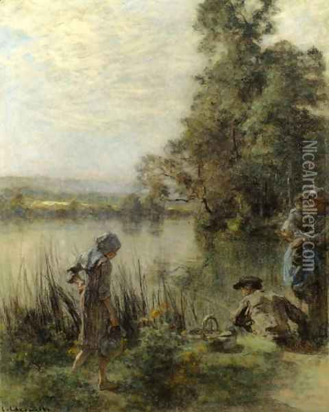 The Fisherman's Family Oil Painting - Leon Augustin Lhermitte