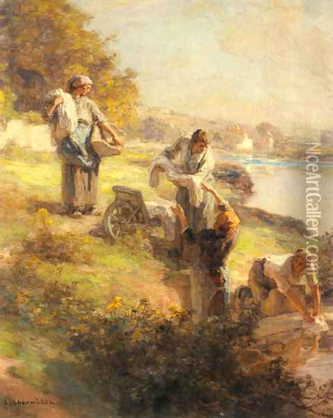 Laveuses le Matin (Washerwomen in the Morning) Oil Painting - Leon Augustin Lhermitte