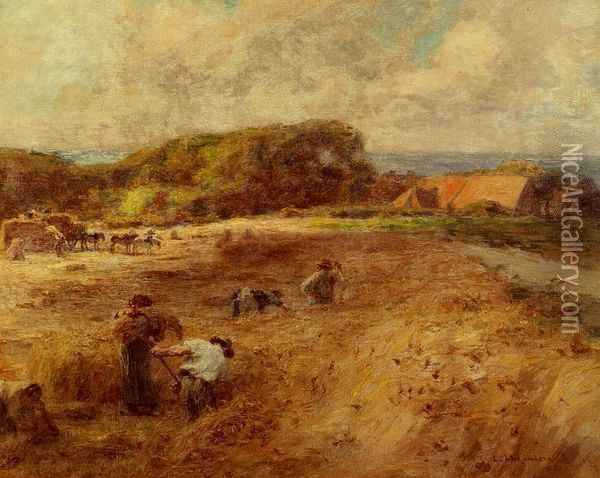 Harvesters near the Farm of Sambre Oil Painting - Leon Augustin Lhermitte