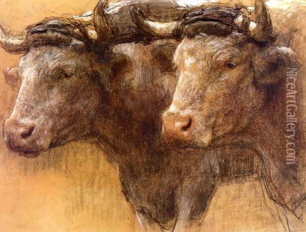 Heads of Two Oxen, Study for 'La Famille' Oil Painting - Leon Augustin Lhermitte