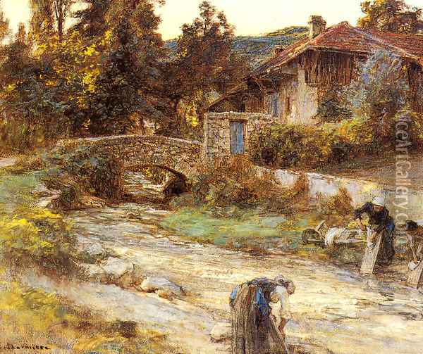 Washerwomen at a Stream with Buildings beyond Oil Painting - Leon Augustin Lhermitte
