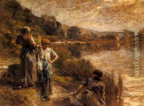 Washerwomen on the Banks of the Marne Oil Painting - Leon Augustin Lhermitte