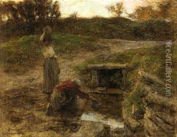 Woman at a Fountain Oil Painting - Leon Augustin Lhermitte