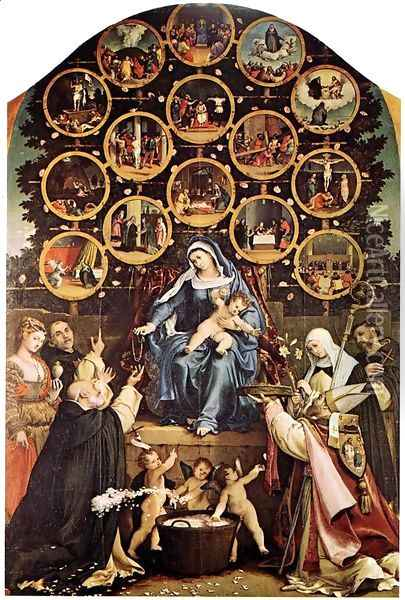 Madonna of the Rosary Oil Painting - Lorenzo Lotto