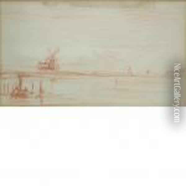 Landscape Withwindmill Oil Painting - Charles-Francois Daubigny