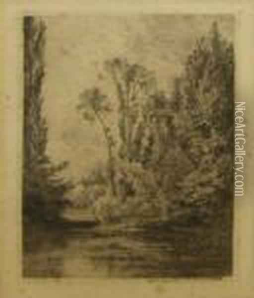 Wooded River Landscape With Punt Oil Painting - Charles-Francois Daubigny