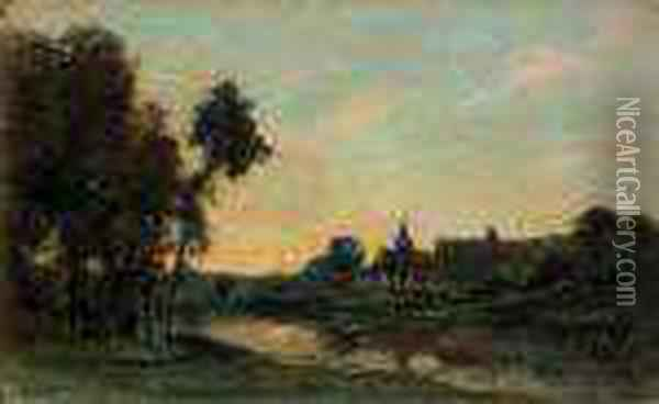 Abend Bei Portjoie Oil Painting - Charles-Francois Daubigny