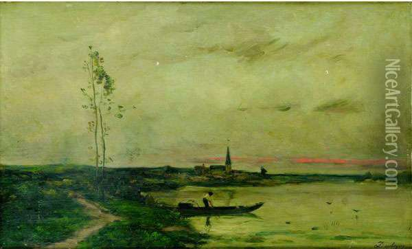 Fisherman Oil Painting - Charles-Francois Daubigny
