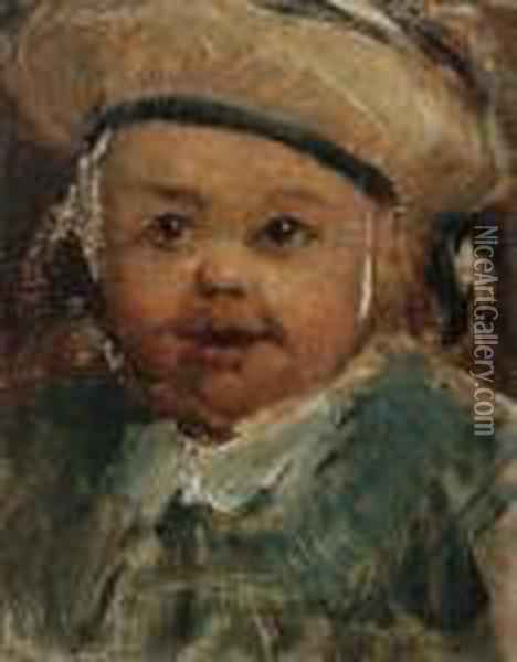 Portrait Of The Artist's Son In A Sailor Outfit Oil Painting - Charles-Francois Daubigny