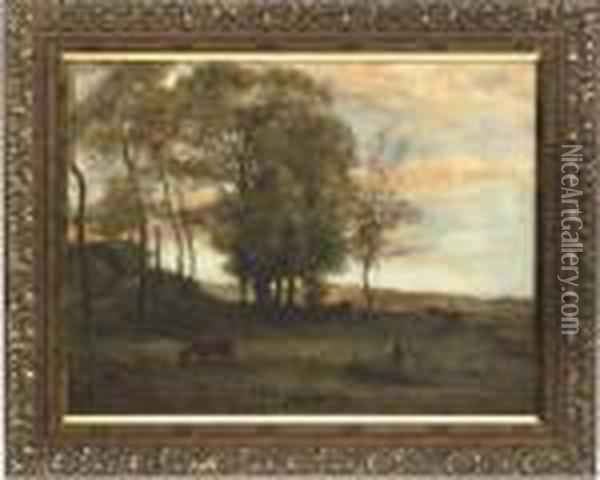 The Last Light Of The Day Oil Painting - Charles-Francois Daubigny