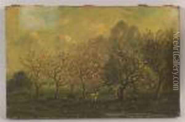 Shepherdess With Goats In An Orchard. Oil Painting - Charles-Francois Daubigny
