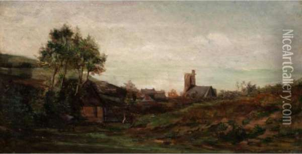 Church In A Landscape Oil Painting - Charles-Francois Daubigny