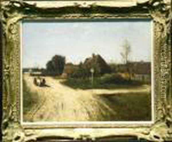 Village Road Oil Painting - Charles-Francois Daubigny