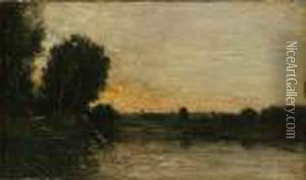 A River Landscape, Possibly Les Bords De L'oise Oil Painting - Charles-Francois Daubigny