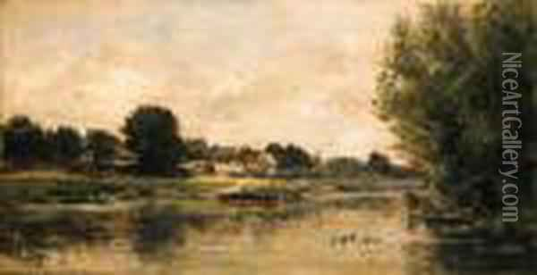 View Of A River Oil Painting - Charles-Francois Daubigny