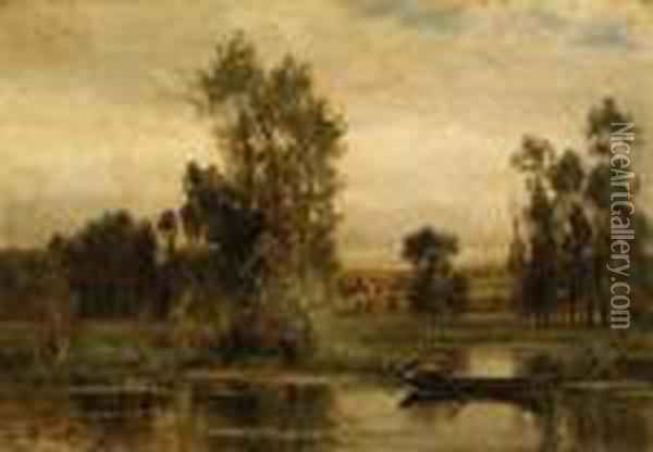 Barque Sur L'tang (boat On The Pond) Oil Painting - Charles-Francois Daubigny