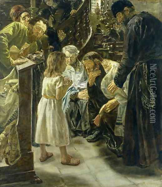 The Twelve-Year-Old Jesus in the Temple, 1879 Oil Painting - Max Liebermann